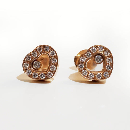 Chopard Happy Diamonds 18K Yellow Gold Heart Stud Earrings