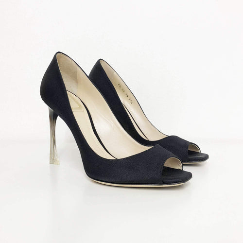 Christian Dior Black Peep Toe Pumps Acrylic Heel
