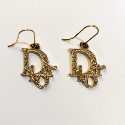 Christian Dior Dangle Gold-tone Earrings