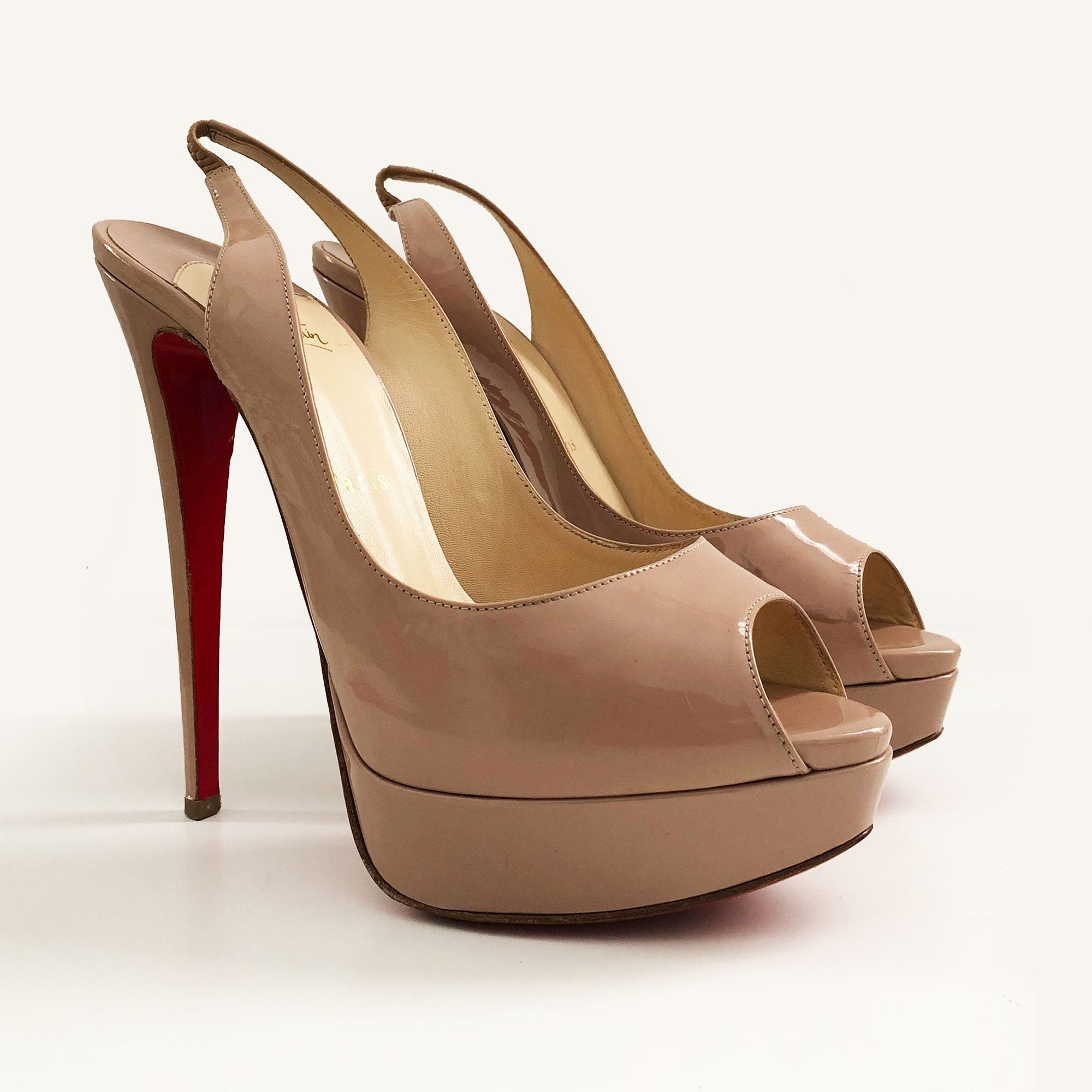 Christian Louboutin Nude Patent Leather Lady Peep Toe Slingback Sandals