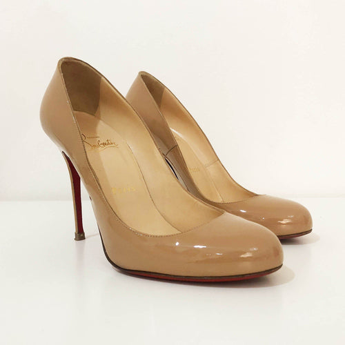 Christian Louboutin Nude Patent Leather Fifi Pumps