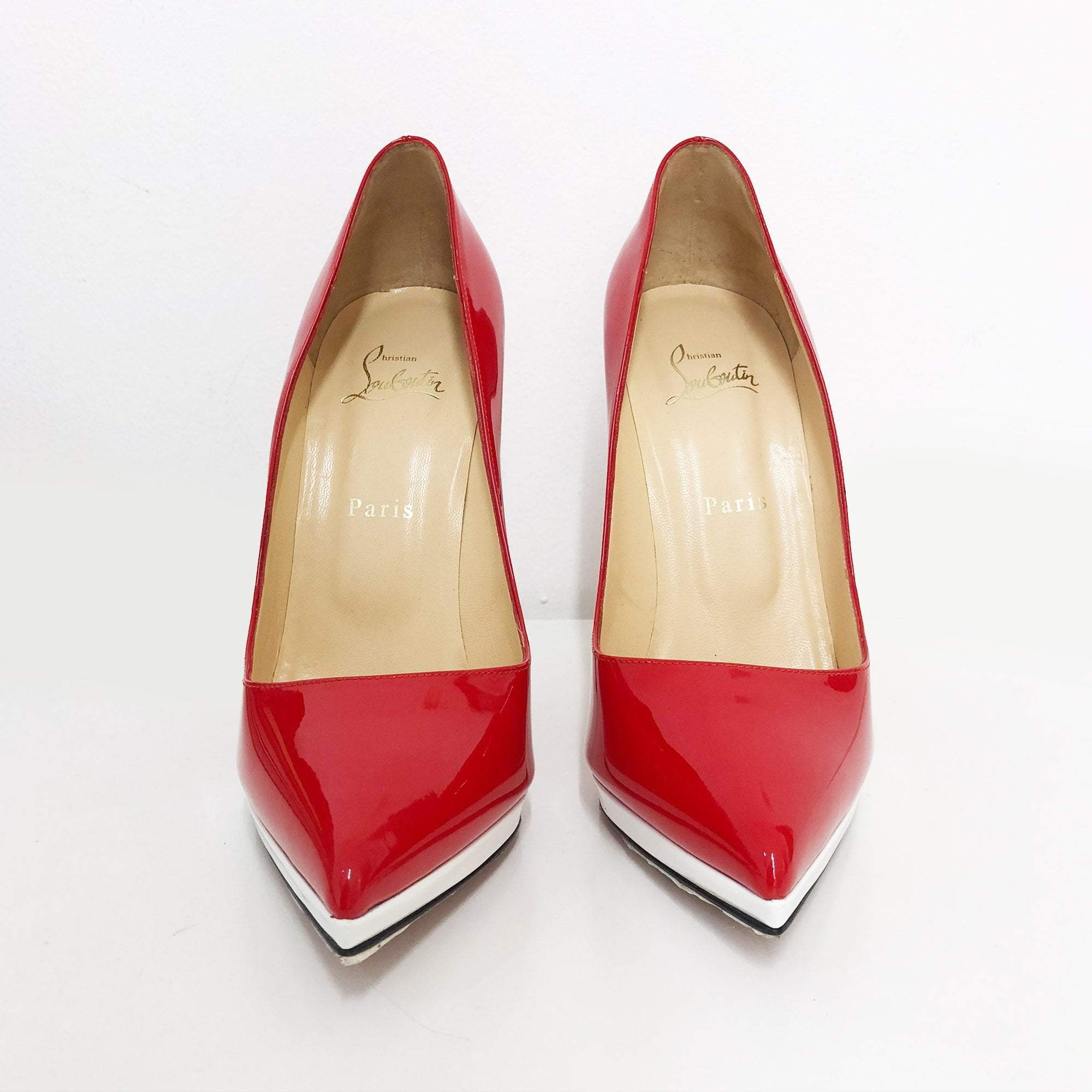 Christian Louboutin Tricolor Red/Black/White Pointed Toe Pumps