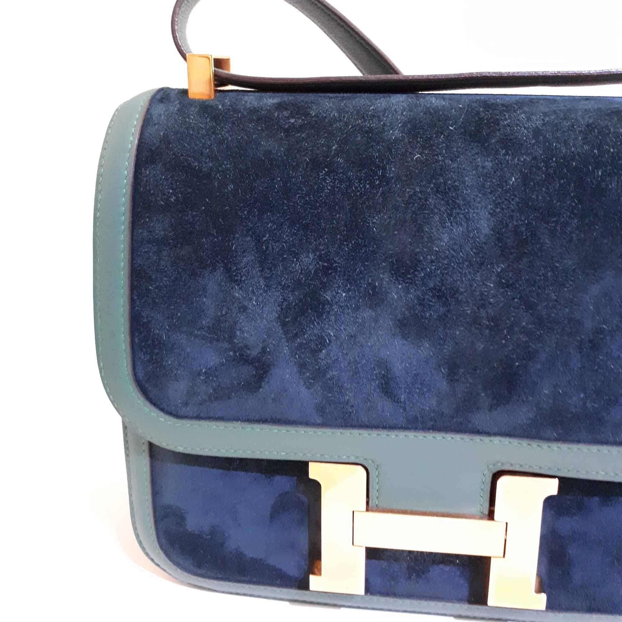Hermes Green Suede/Leather Constance 23 CM Bag