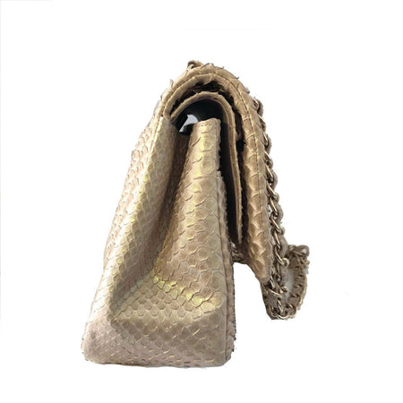 Chanel Champagne Python Jumbo Flap Bag