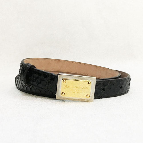 Dolce and Gabbana Black Python Belt