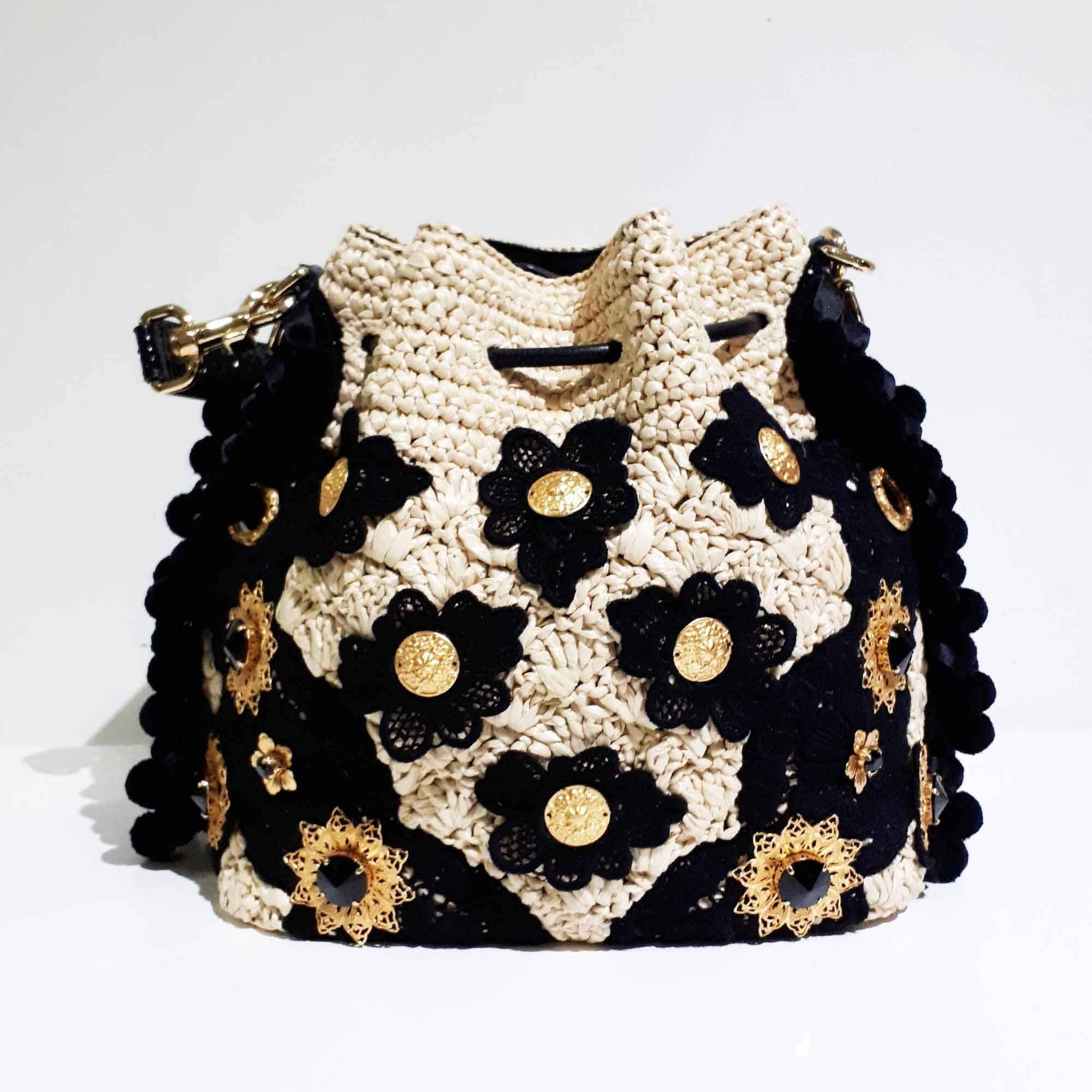 Dolce & Gabbana Claudia Beige & Black Bucket Bag