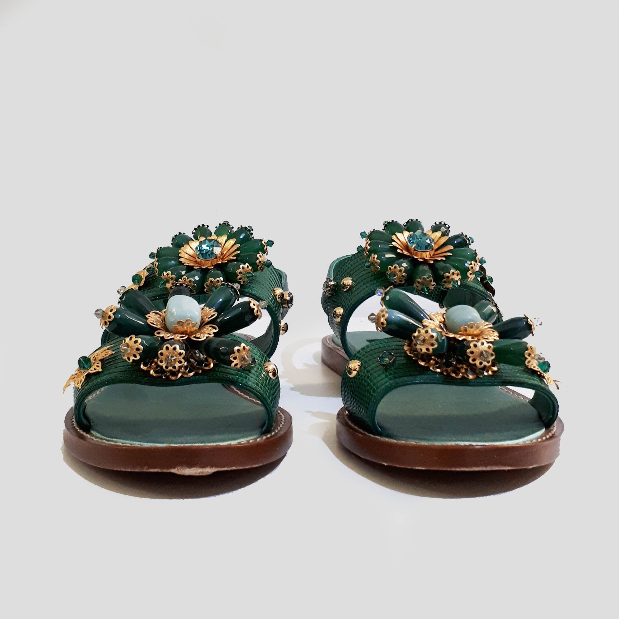 Dolce & Gabbana Green Crystal Embellished Sandals