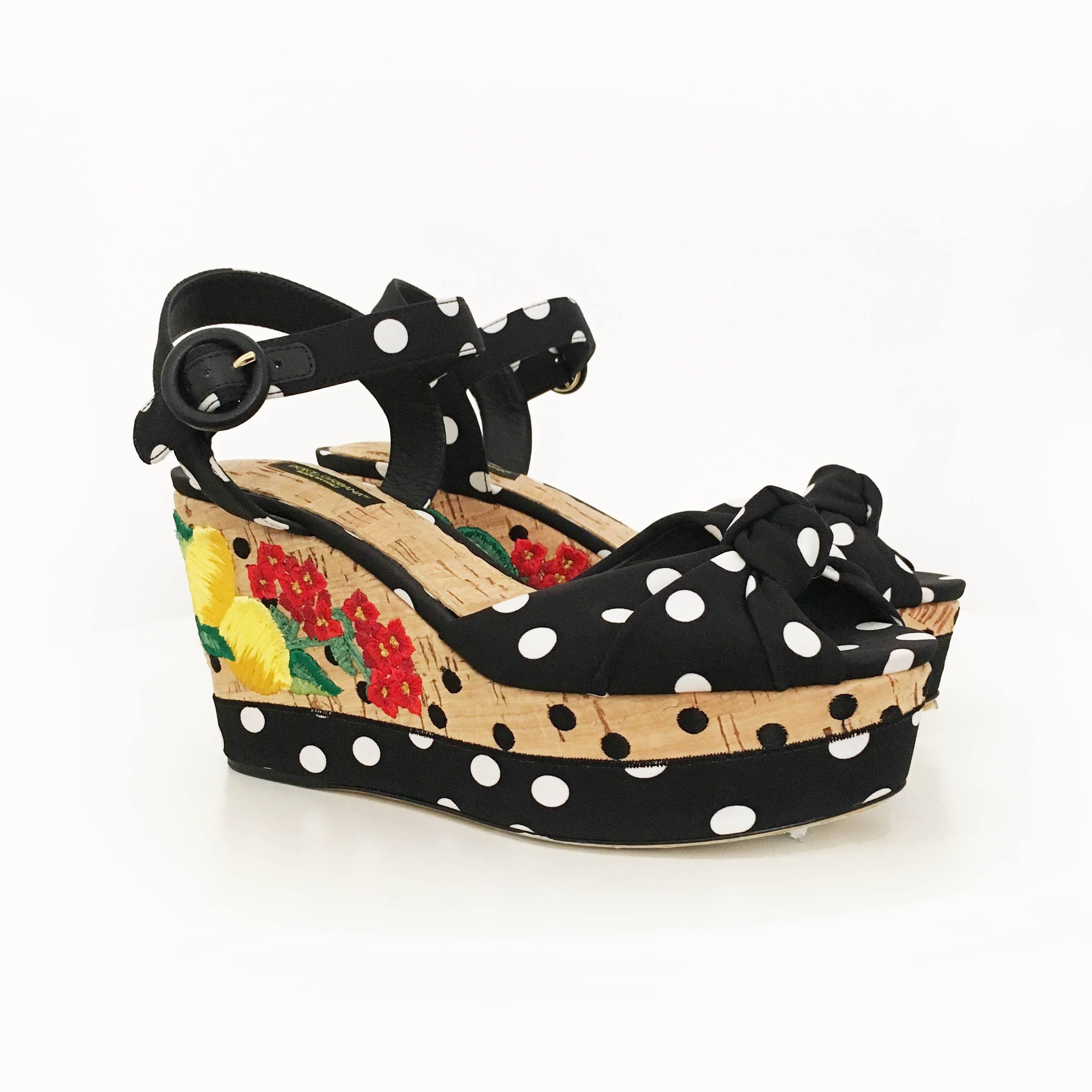 Dolce & Gabbana Polka-dot embroidered wedge sandals