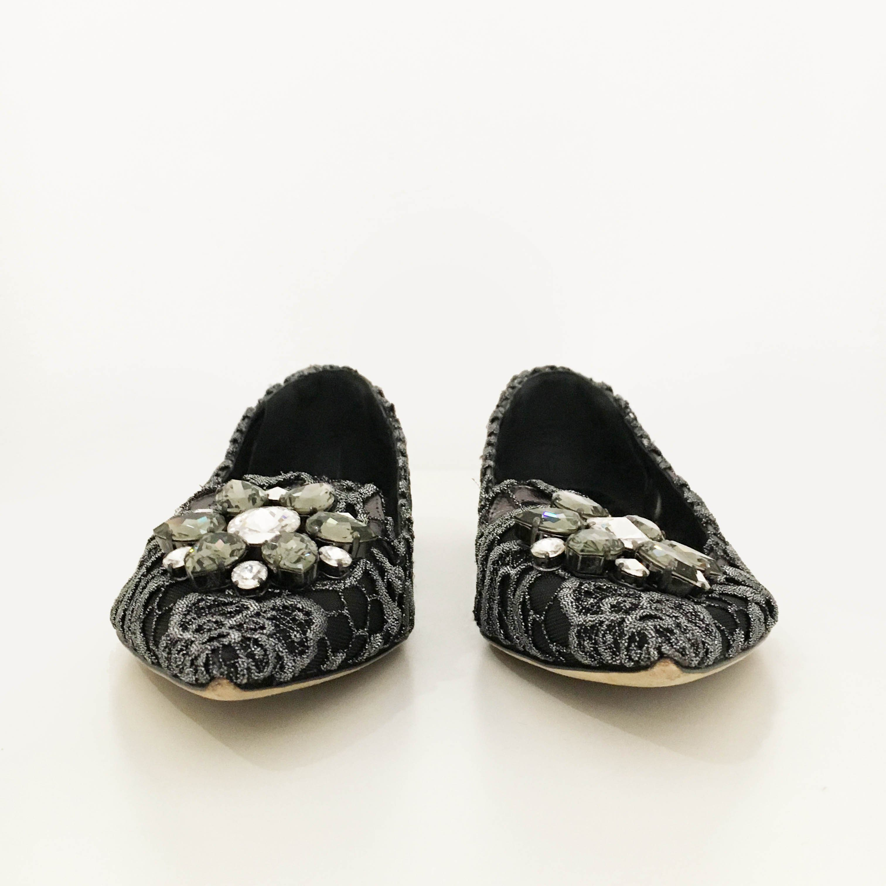 Dolce & Gabbana Crystal Embellished Pointed Flats