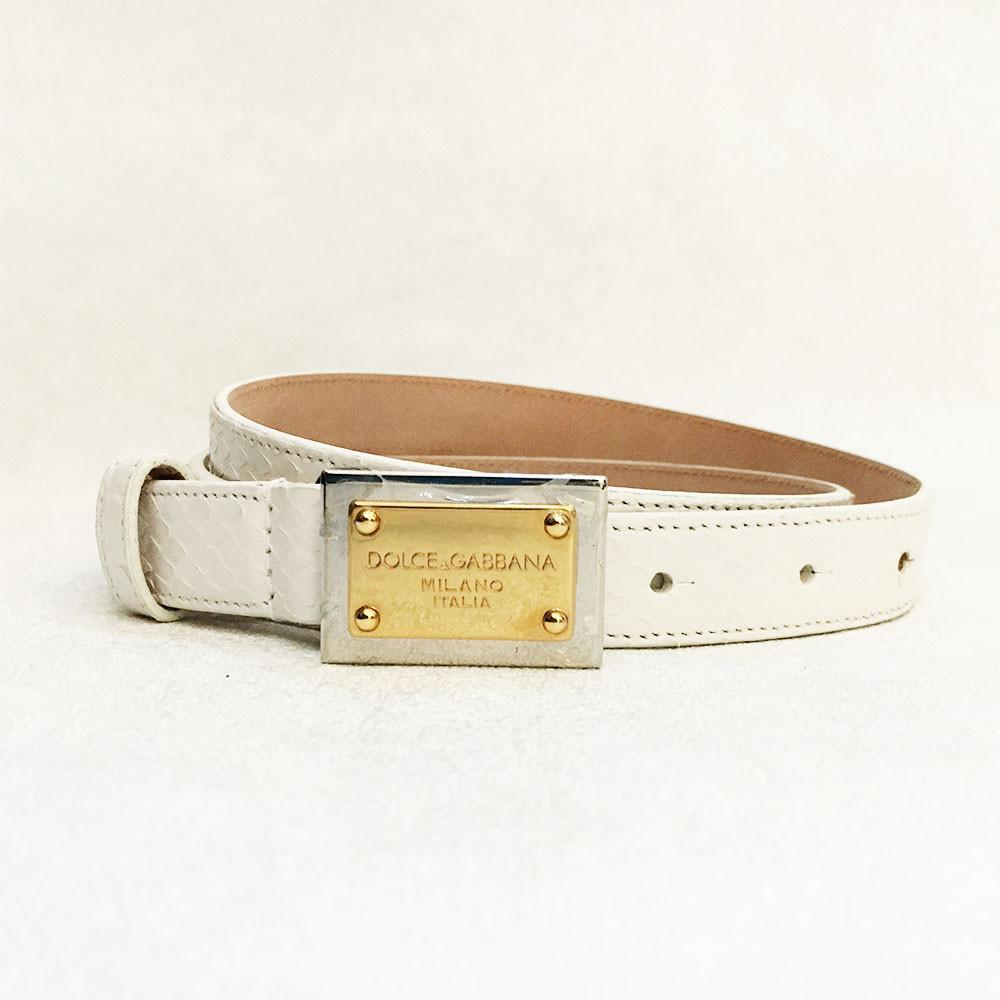 Dolce and Gabbana White Python Belt