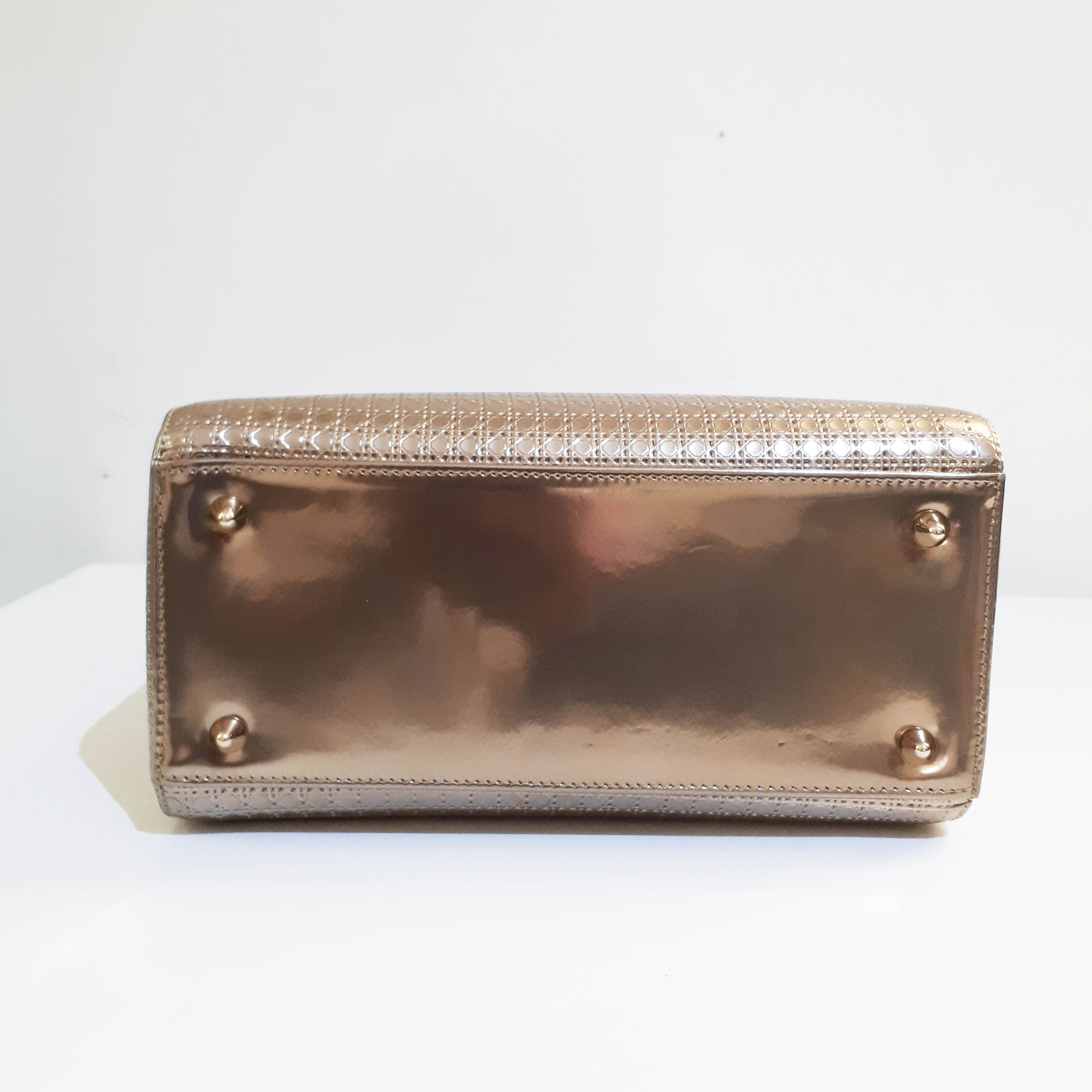 Dior Gold Micro Cannage Patent Leather Medium Lady Dior Bag
