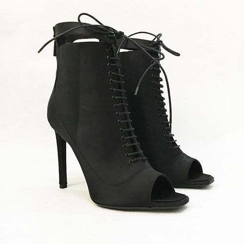 Christian Dior Black Satin Lace-up Ankle Bootie