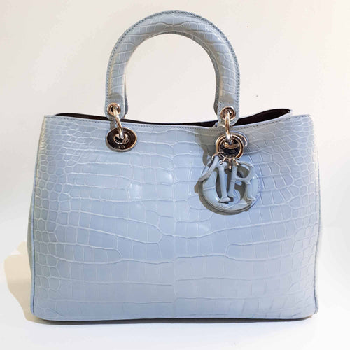 Christian Dior Alligator Diorissimo Light Blue Bag