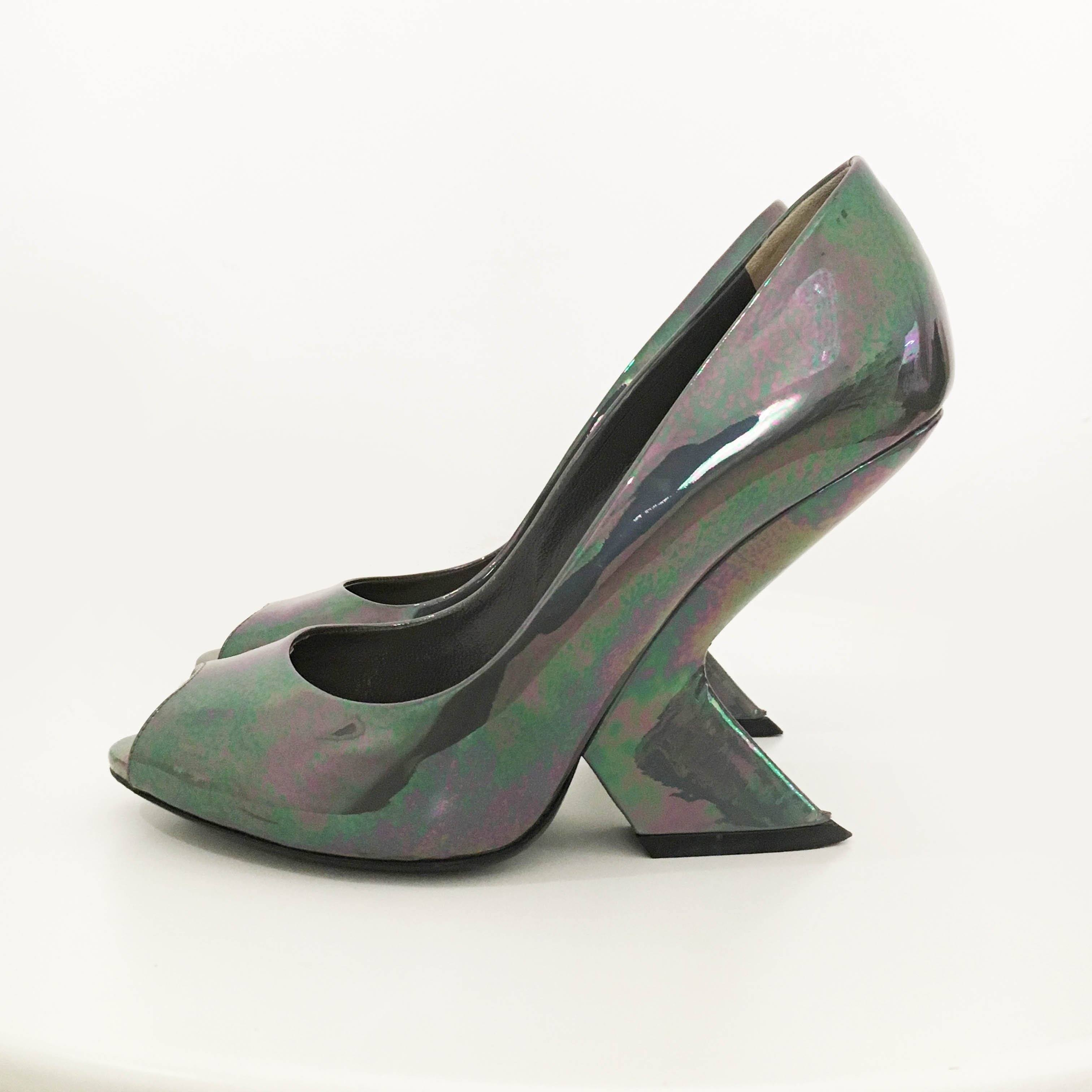 Christian Dior Peep Toe Pumps with Slanted Heels