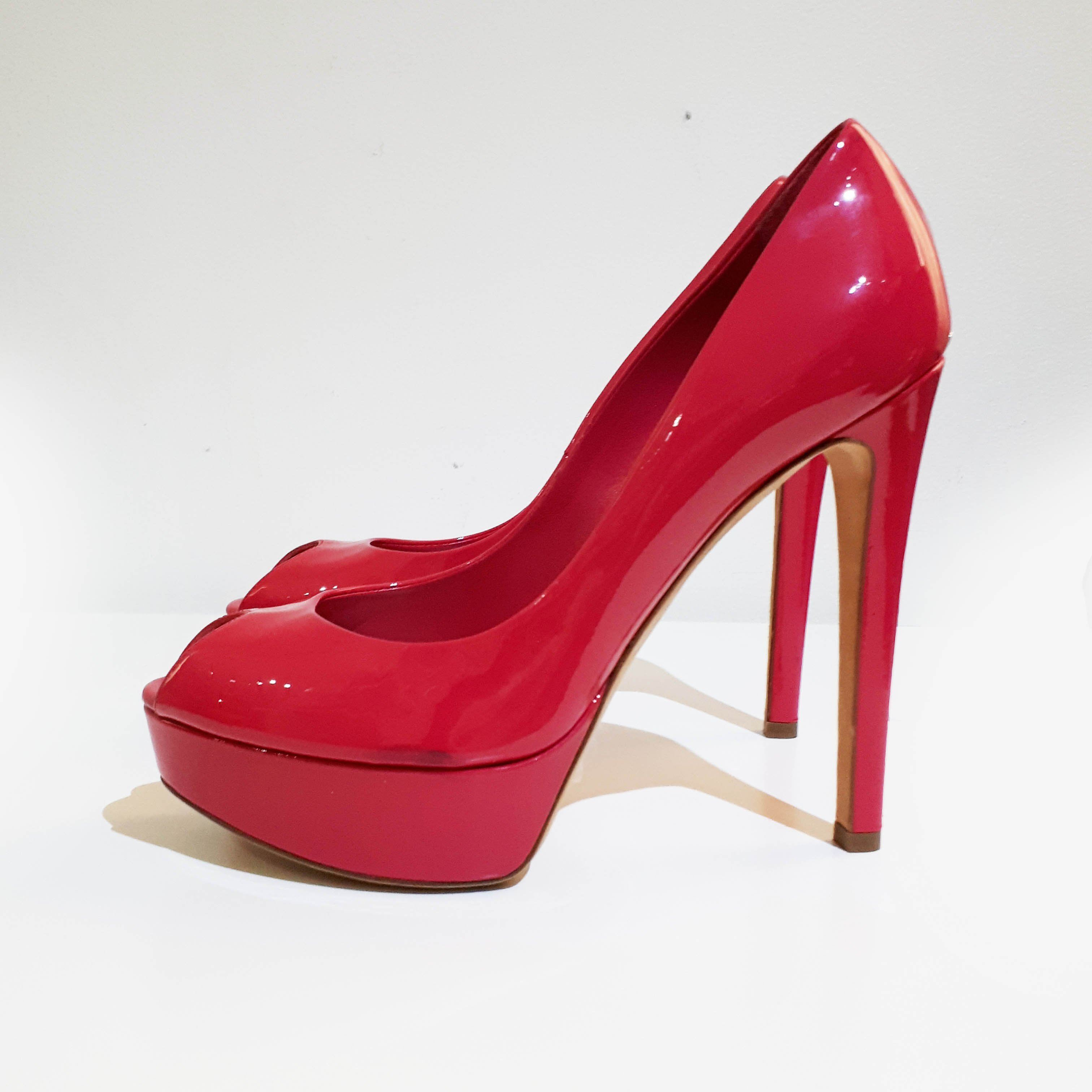 Christian Dior Pink Patent Leather Peep Toe Platform Pumps