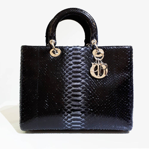 Dior Black Python Medium Lady Dior Bag