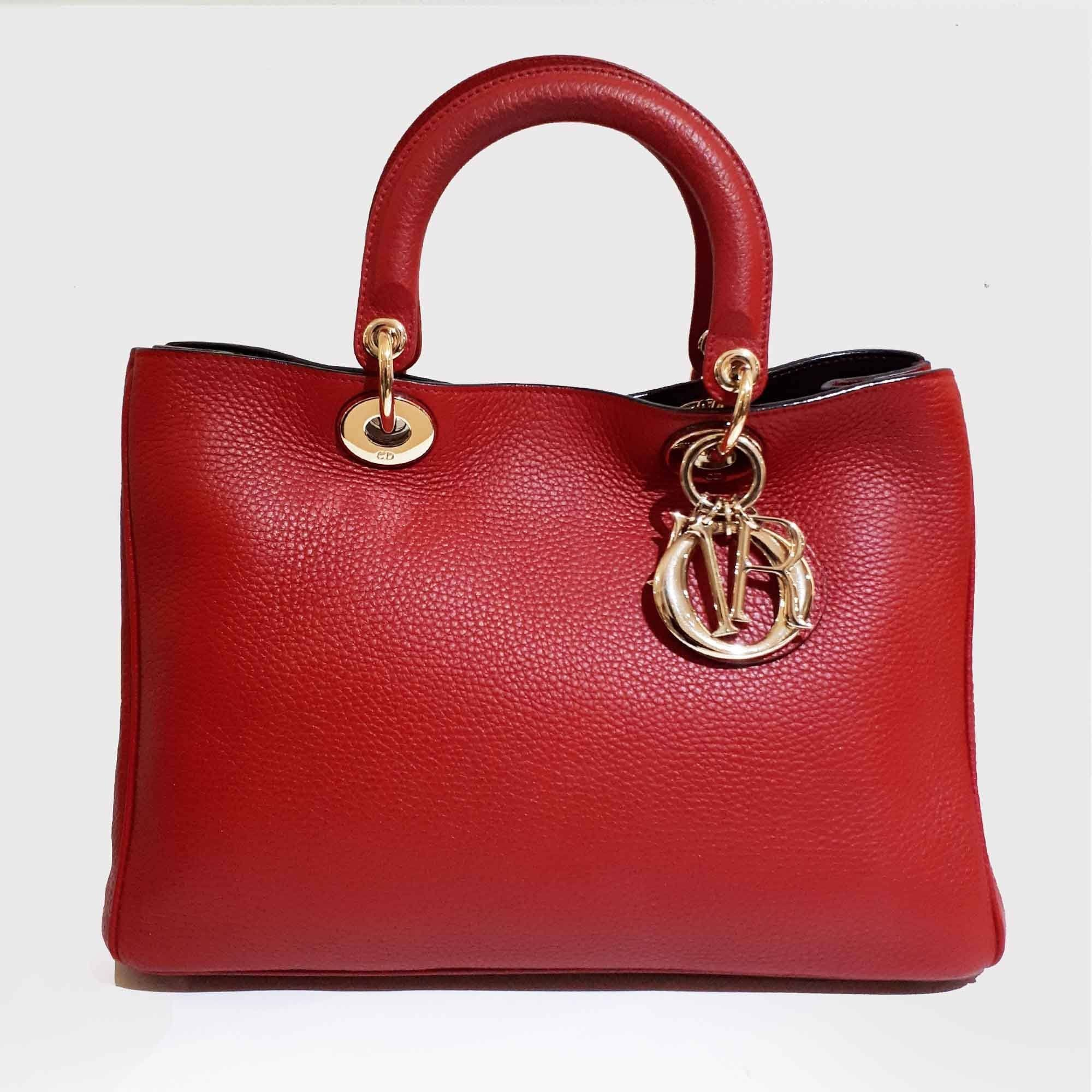 Christian Dior Red Medium Diorissimo Shopper Tote