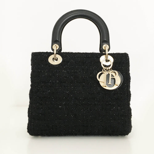 "Christian Dior Black Small ""Lady Dior"" Bag in Tweed"