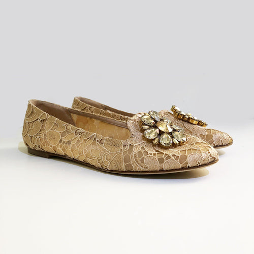Dolce & Gabbana Beige Vally Embellished Lace Ballerinas