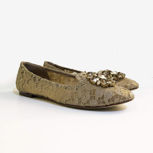 Dolce & Gabbana Khaki Vally Embellished Lace Ballerinas