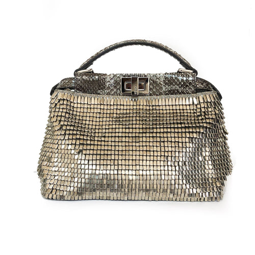 Fendi Peekaboo Mini Beaded Ayers & Python Leather Bag