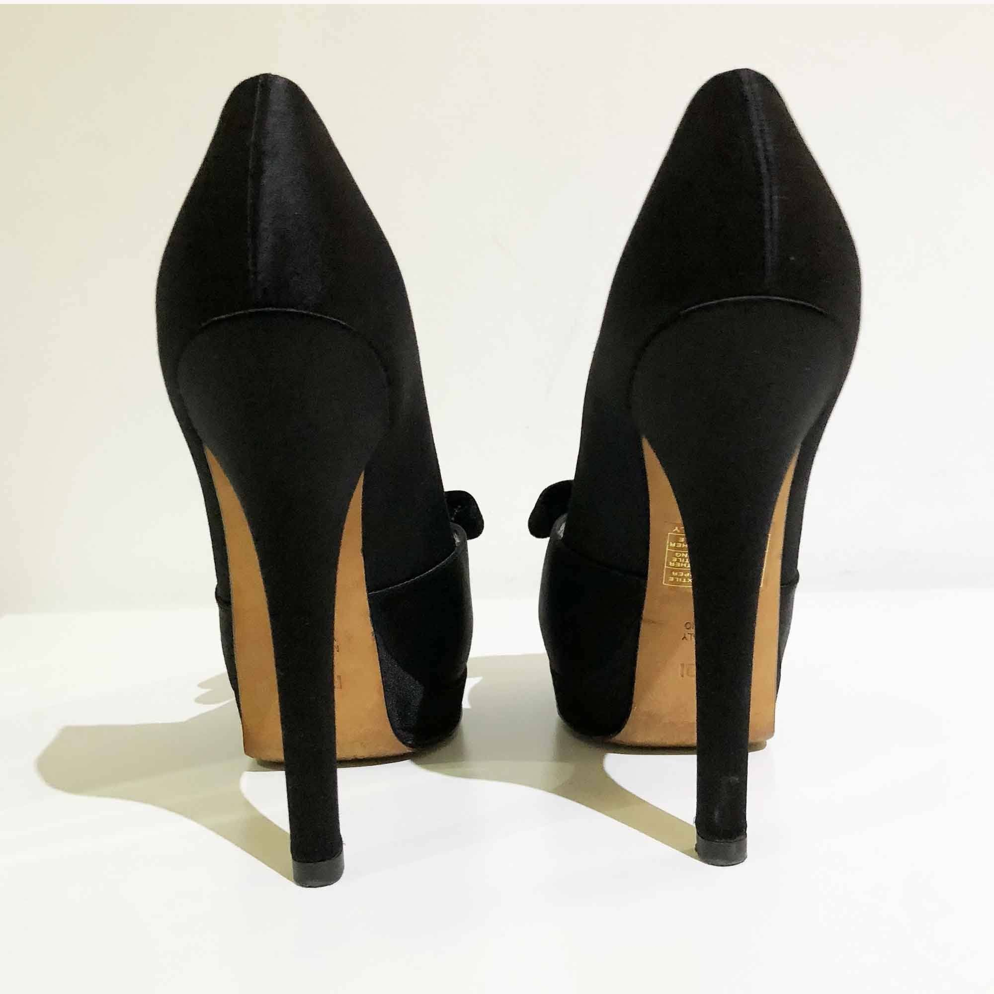 Fendi Black Satin Velvet Bow Peep Toe Platform Pumps
