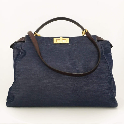 Fendi Blue Fabric Peekaboo Bag