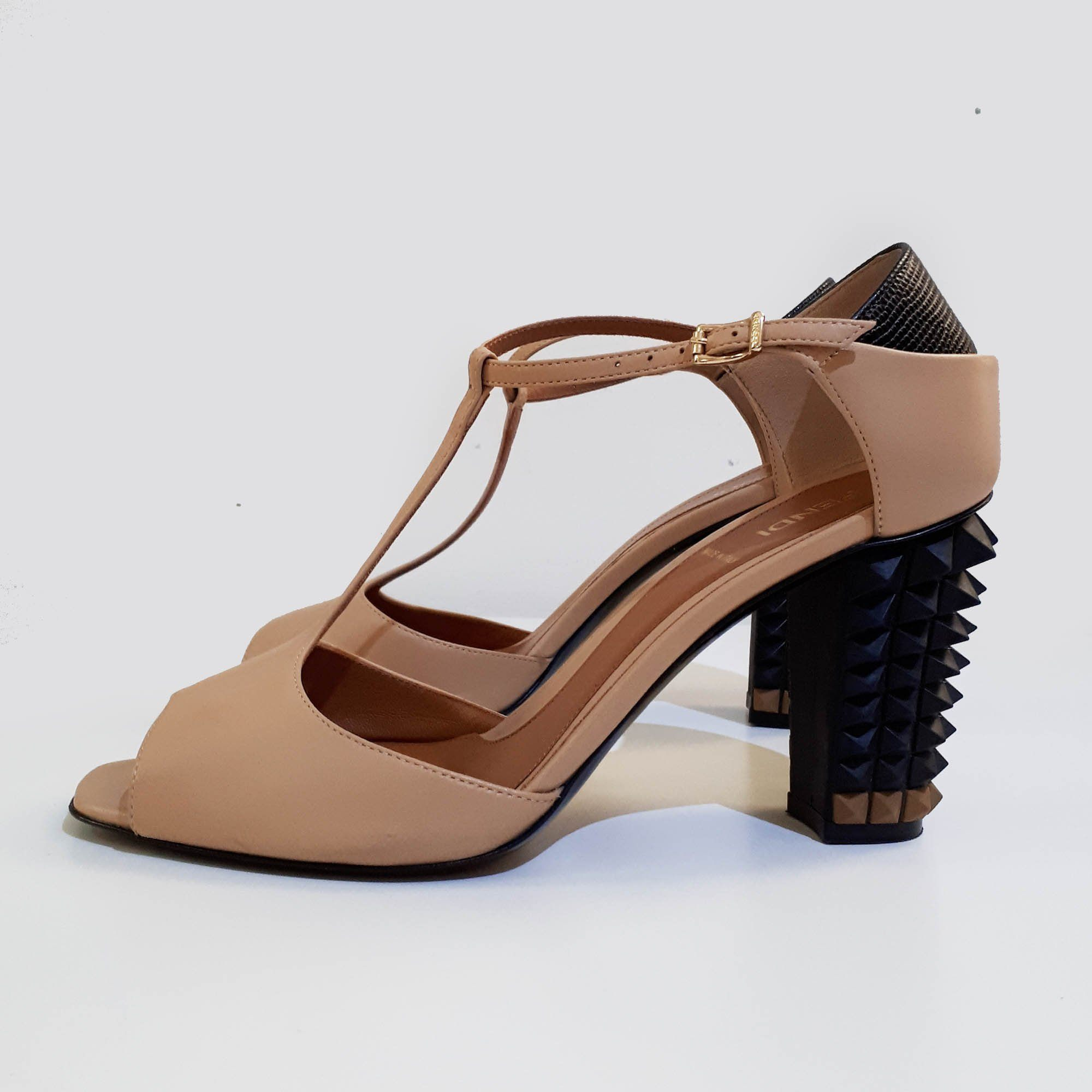 Fendi T-bar Studded Sandal Heels