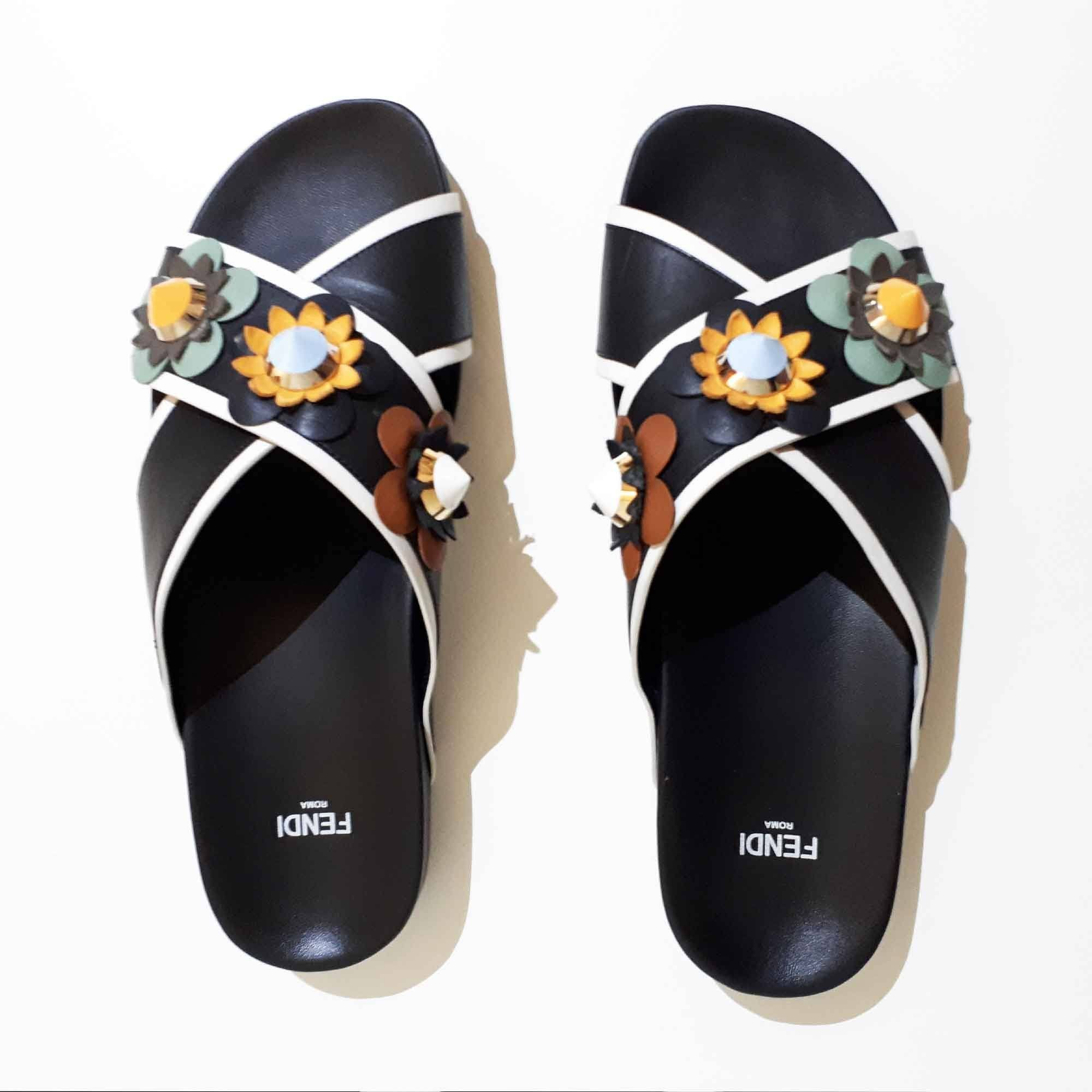 Fendi Black Leather Criss-Cross Sandals