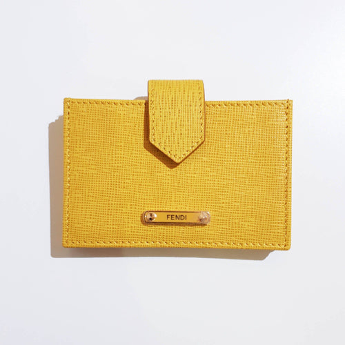 Fendi Yellow Pattina Vitello Elite Leather Credit Card Holder