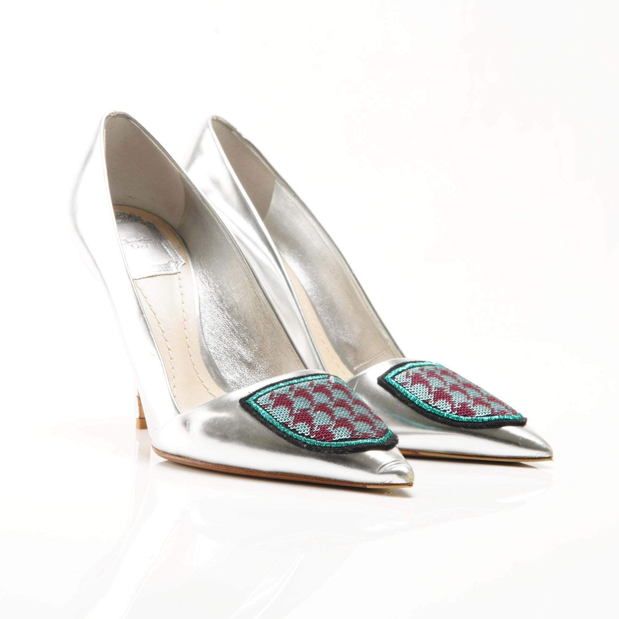Christian Dior Silver Leather Crest Pumps