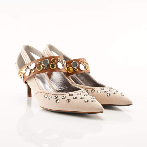 Bottega Veneta Embellished Suede Pumps