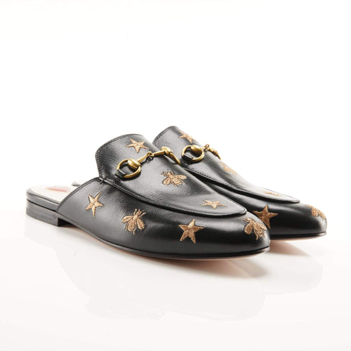 Gucci  Black Princetown Embroidered Leather Loafers