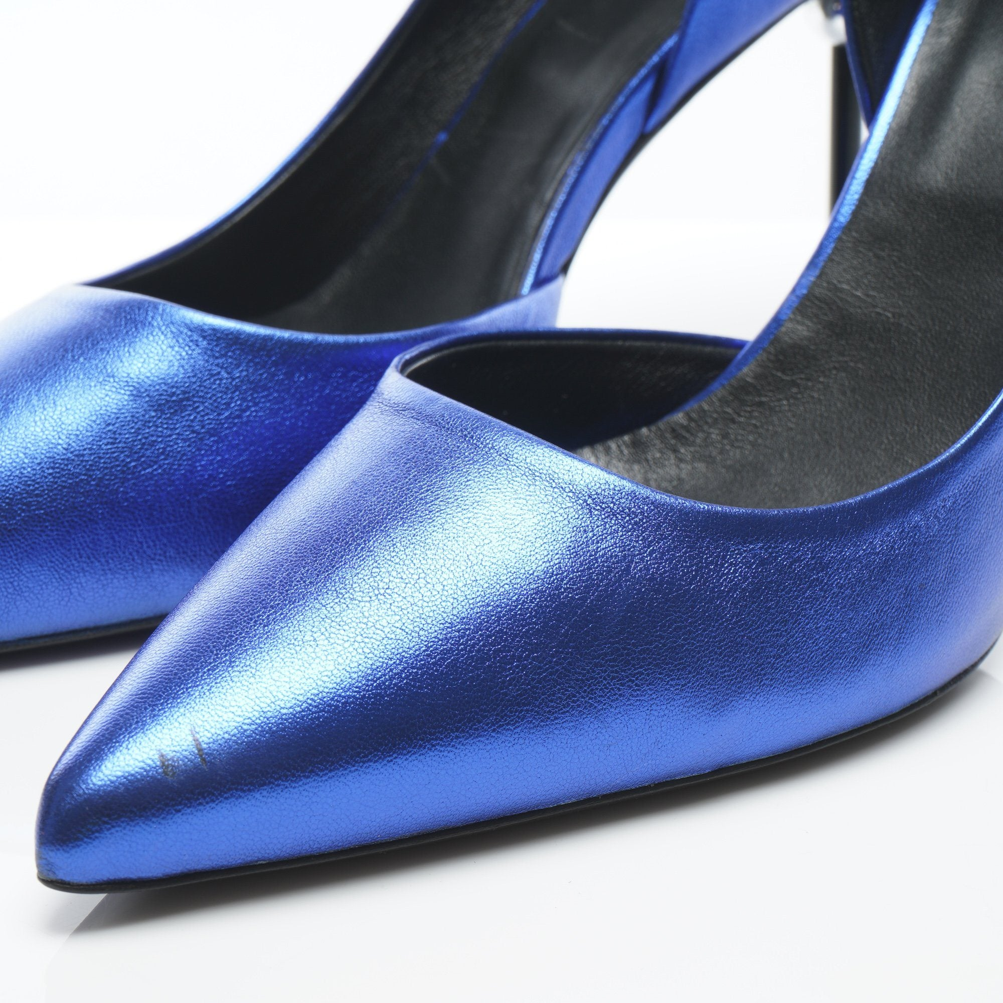 Roger Vivier Metallic Blue Pointed Pumps