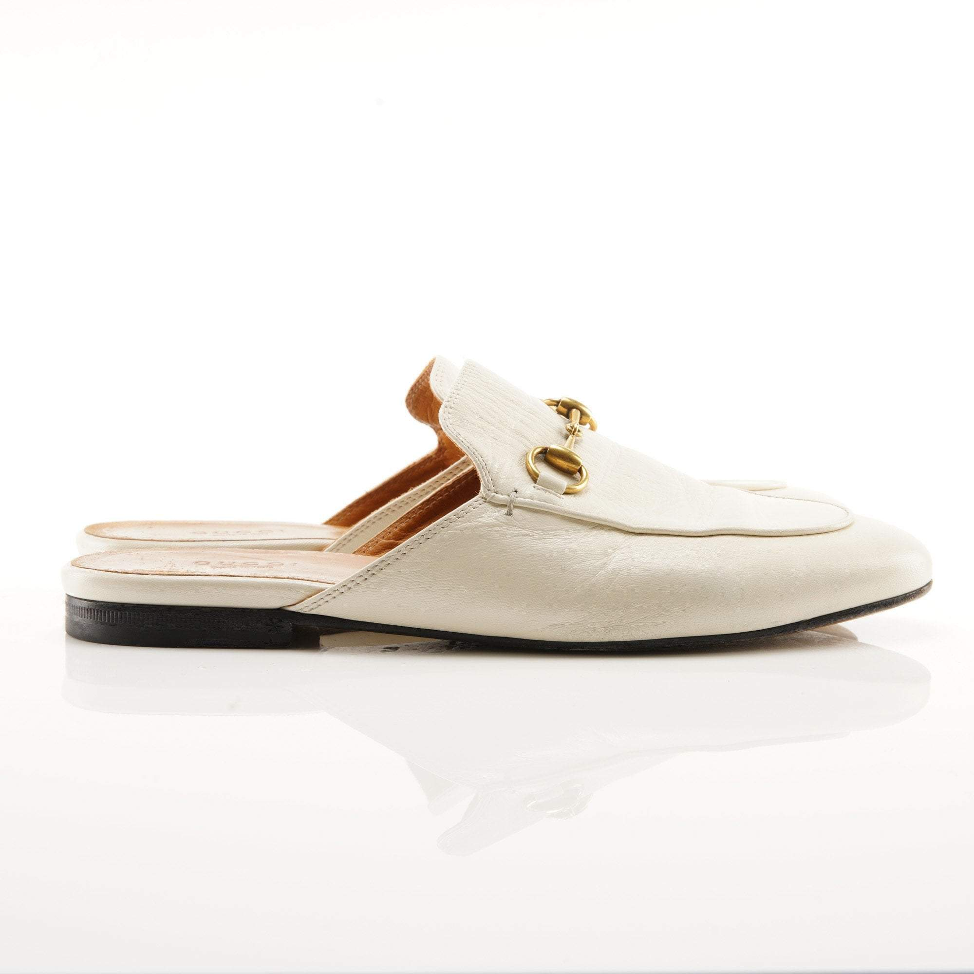 Gucci White Princetown Leather Loafers