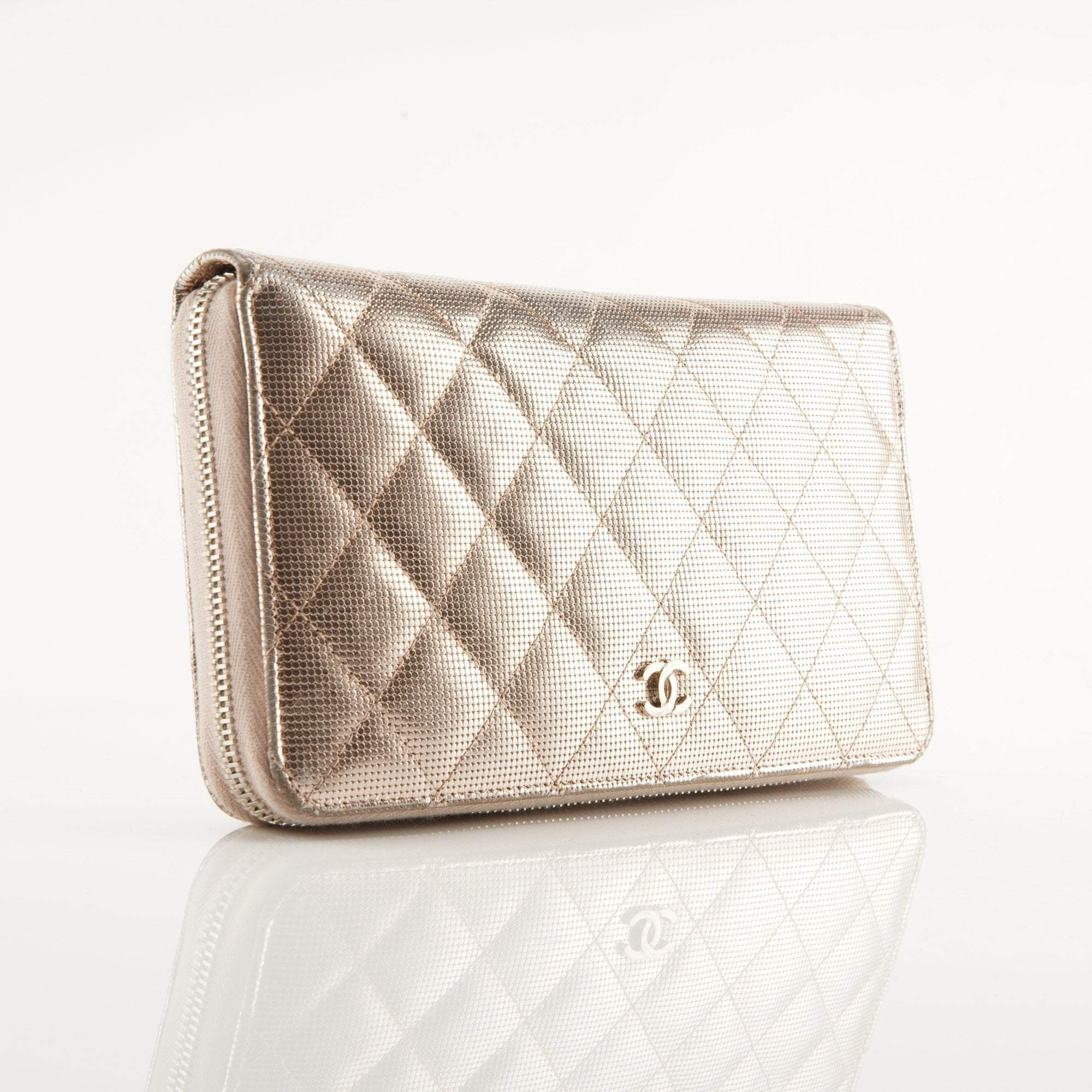 Chanel Rosegold Quilted Caviar Leather Large Zippy Wallet