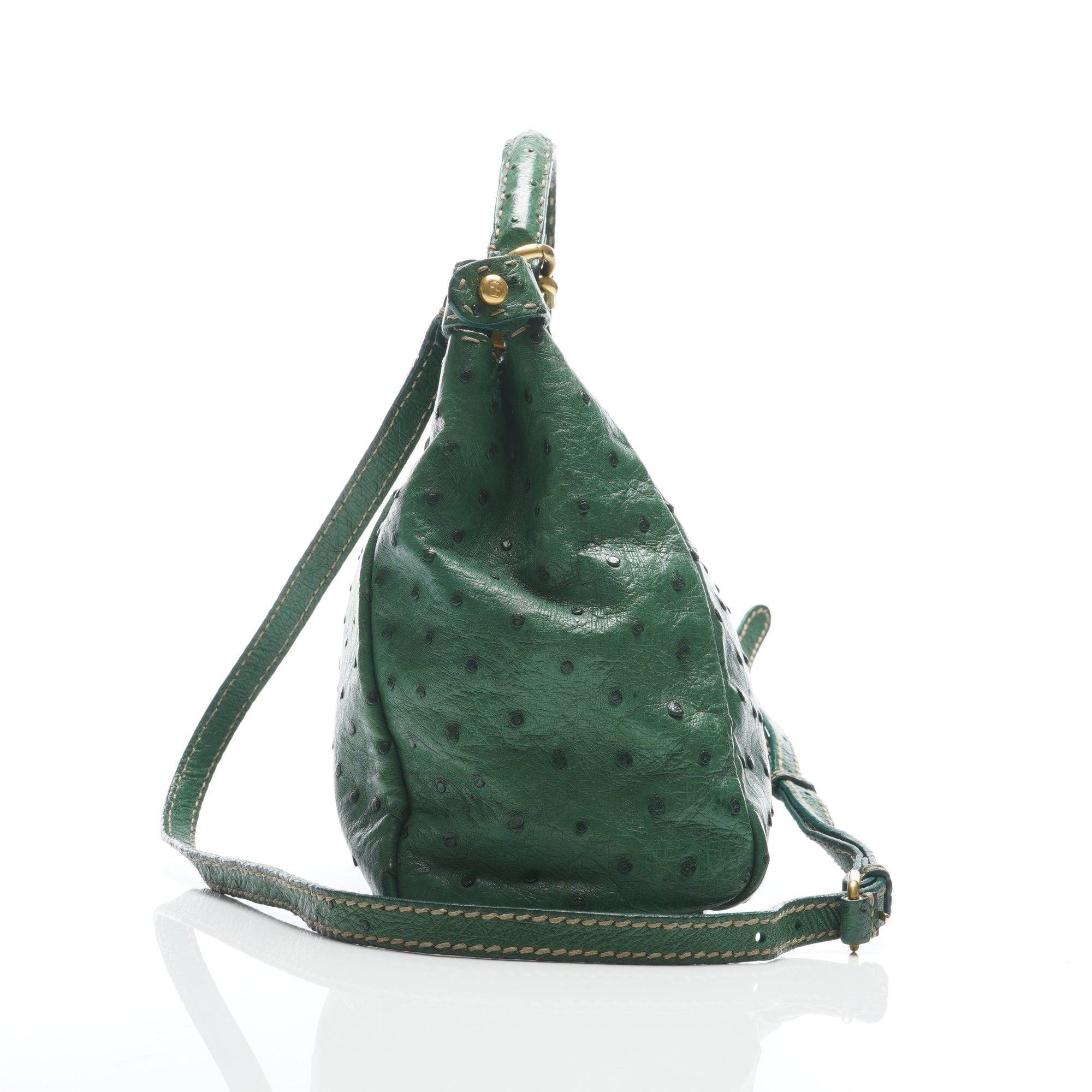 Fendi Green Ostrich Small Peekaboo