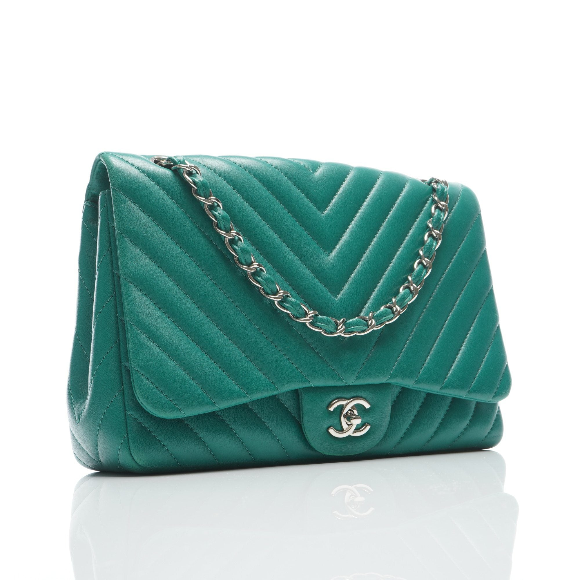 Chanel Green Chevron Quilted Leather Jumbo Classic Flap Bag
