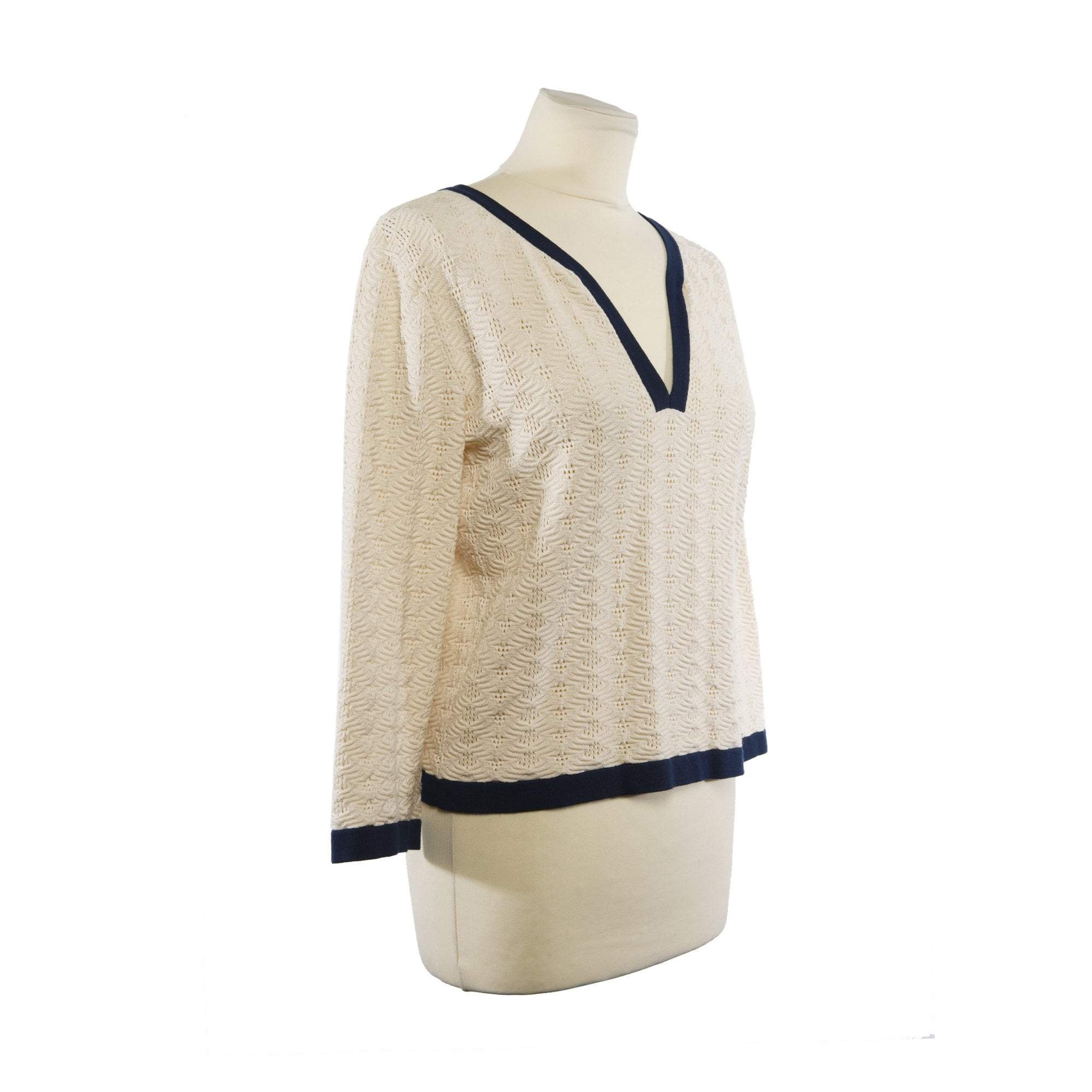 Chanel Cotton V neck Knit Sweater