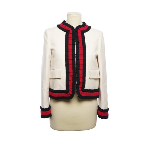 Gucci Pleated Web Trim Cady Crepe Jacket