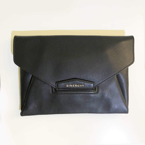 Givenchy Antigona Black textured-leather clutch
