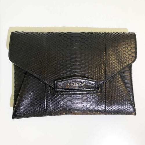 Givenchy Antigona Black Python Clutch
