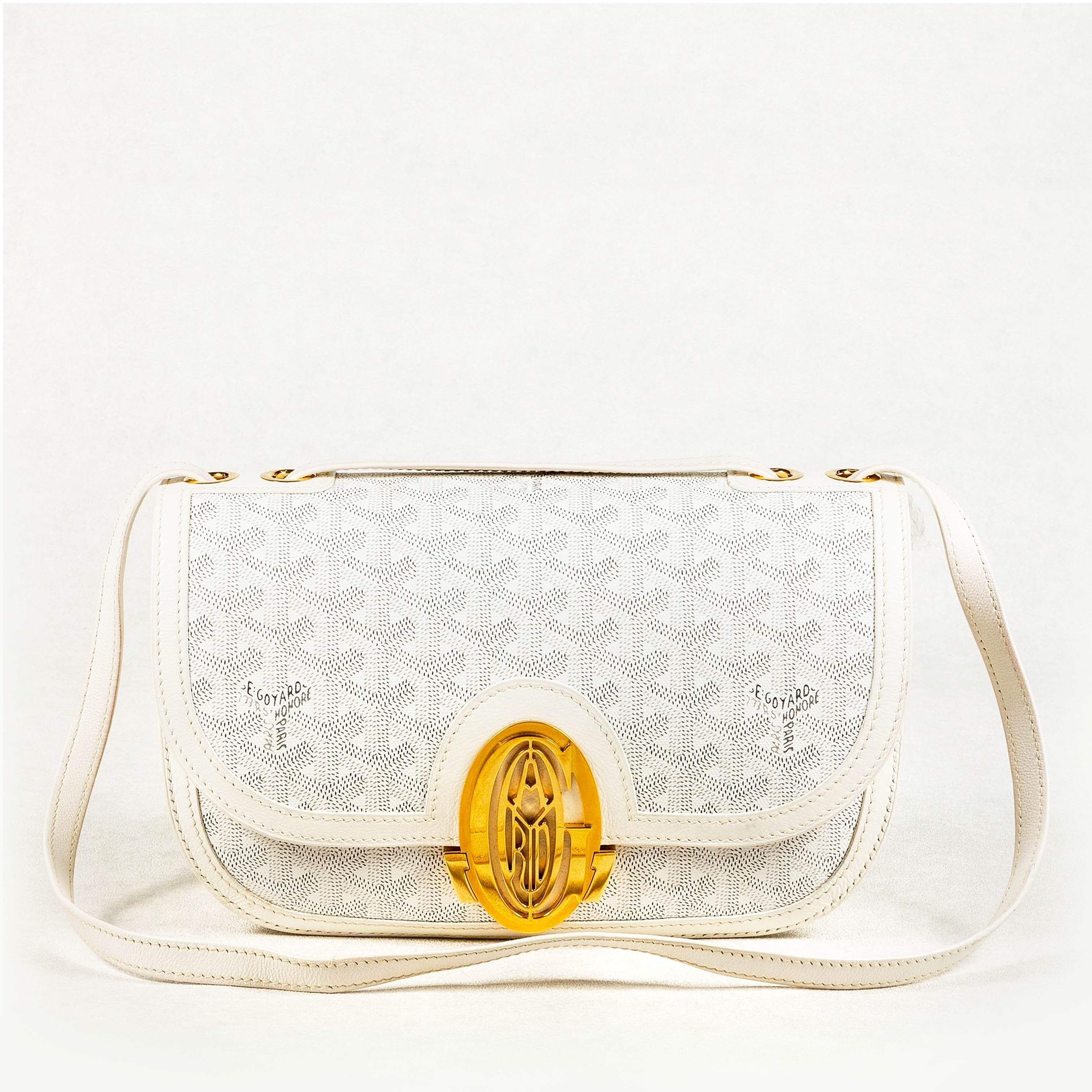 Goyard 233 PM White Leather Shoulder Bag