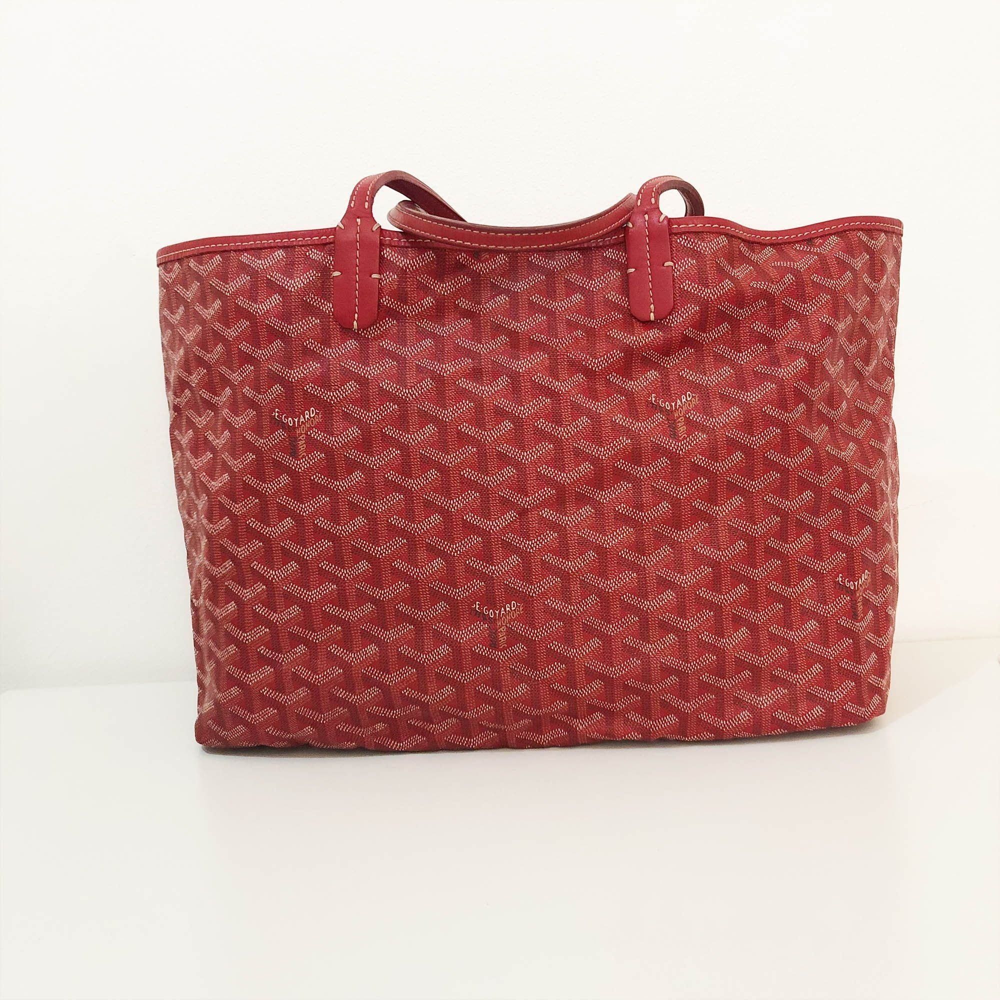Goyard Red St Louis PM Chevron Leather Canvas Tote Bag