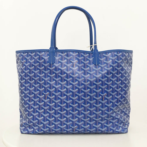 Goyard Blue St Louis GM Chevron Leather Canvas Tote Bag