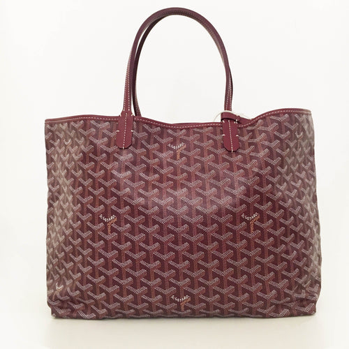 Goyard Burgundy St Louis GM Chevron Leather Canvas Tote Bag