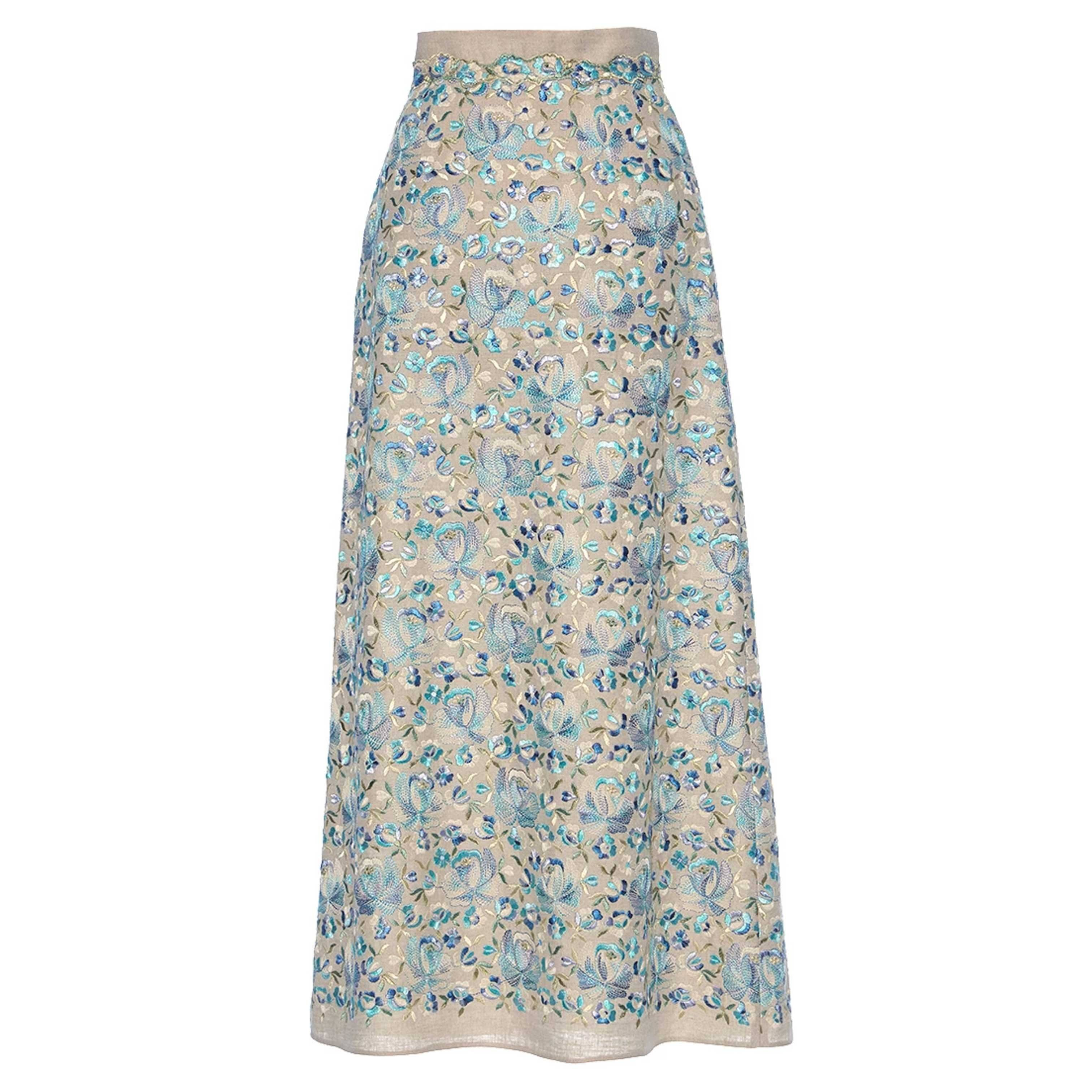 Luisa BeccariaLinen Embroidered Maxi Skirt