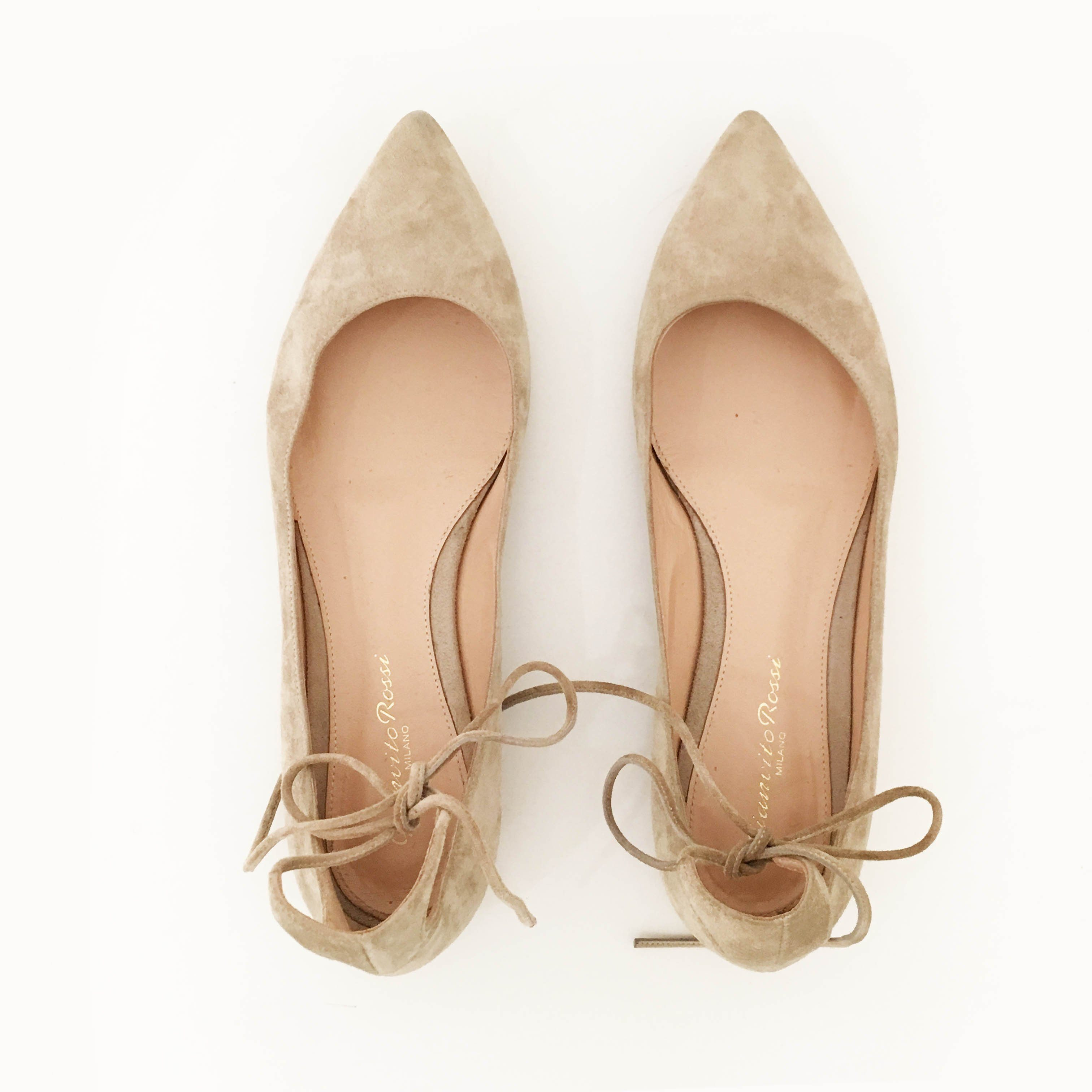 Gianvito Rossi Beige Suede Ankle Flats