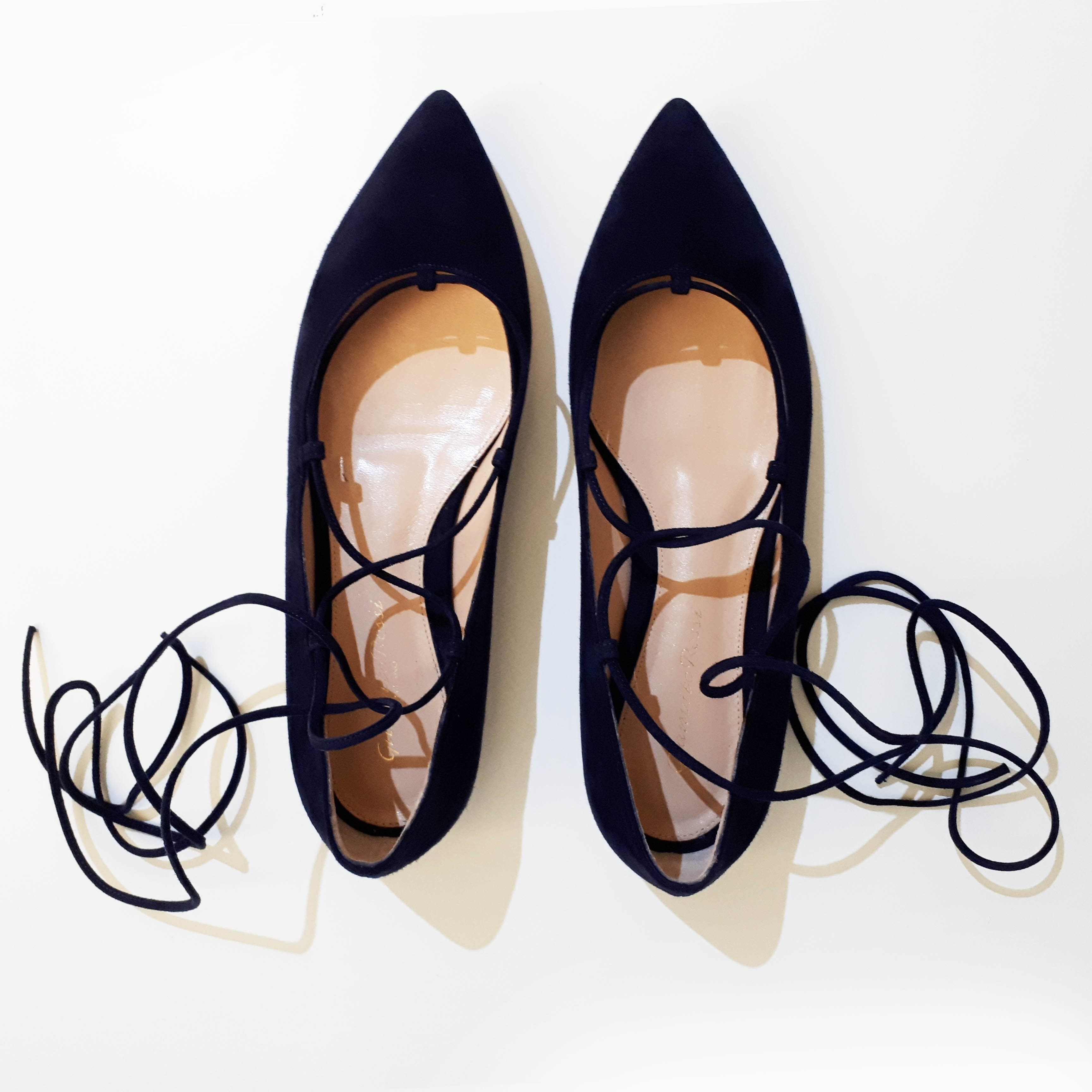 Gianvito Rossi Blue Pointed Toe Lace-up Flats