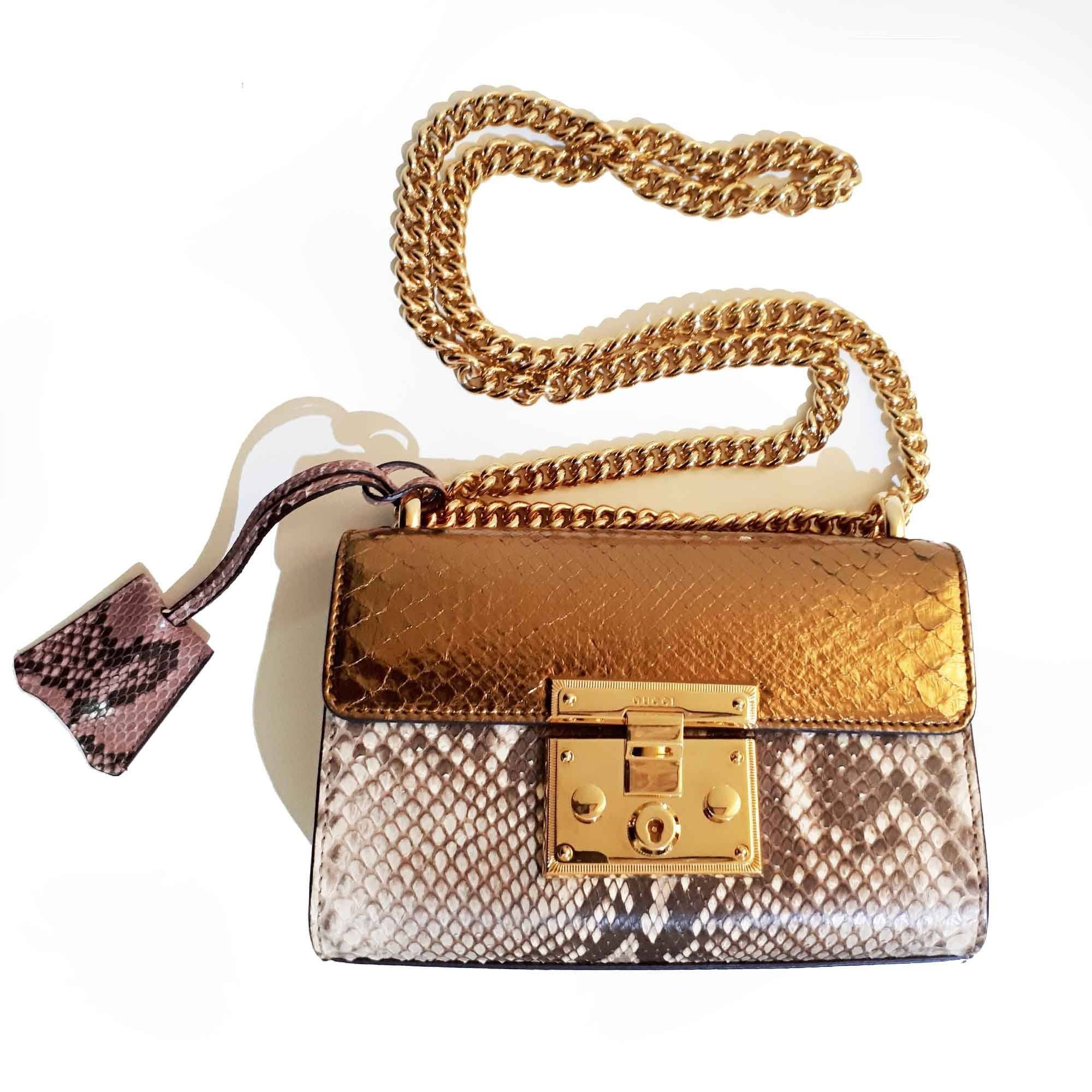 Gucci Small Padlock Python Shoulder Bag